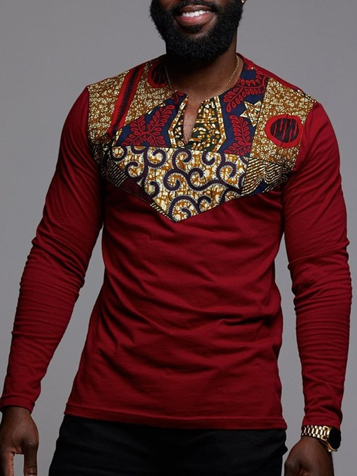 Ericdress Floral Dashiki Printed Long Sleeve Mens Straight T-shirt