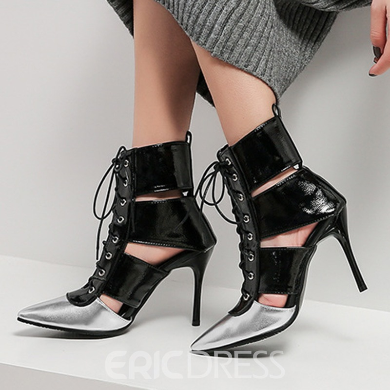 Ericdress Color Block Pointed Toe Lace-Up Front Women's Ankle Boots