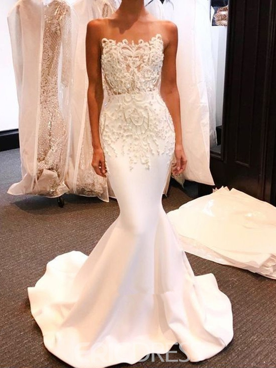 Ericdress Strapless Beading Appliques Mermaid Wedding Dress 2019