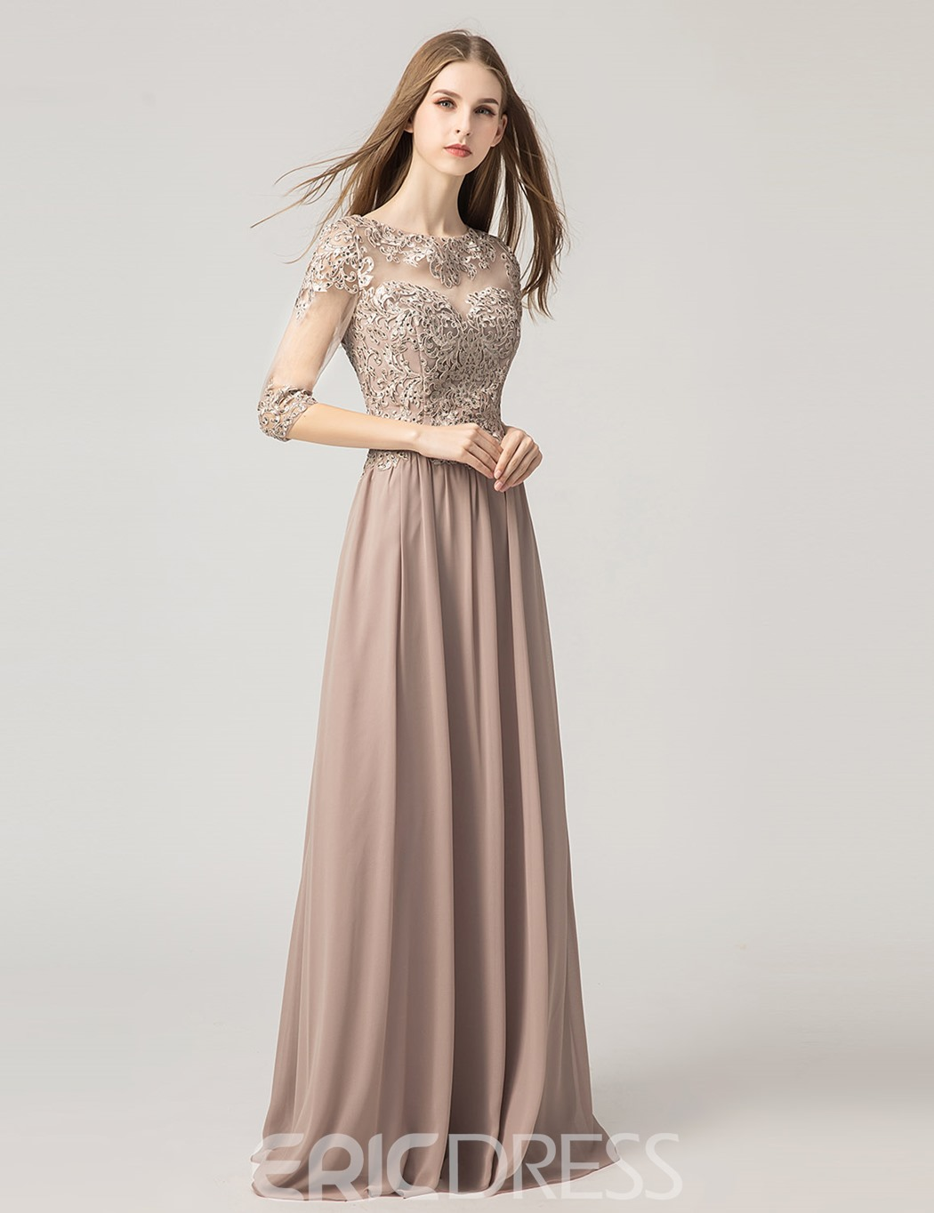 Ericdress Scoop Beading Floor-Length A-Line Prom Dress