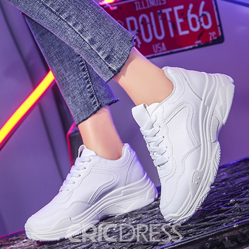 Ericdress Sequin Round Toe Lace-Up Women's Sneakers