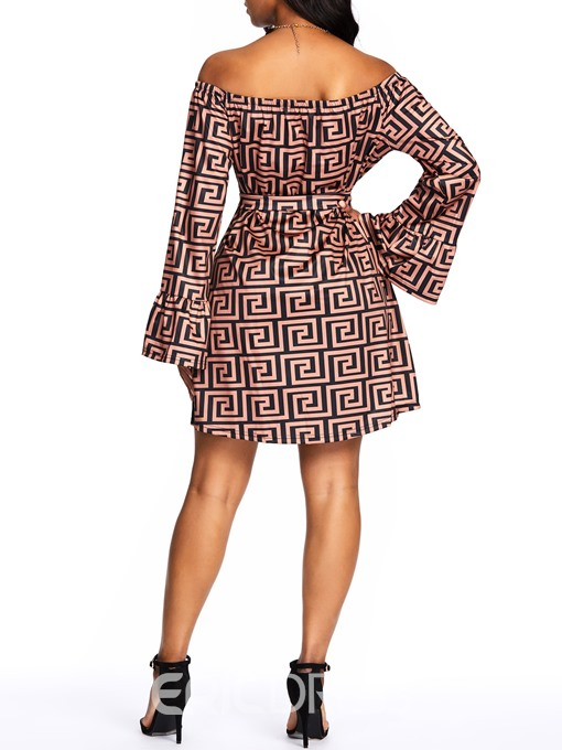 Ericdress African Fashion Ruffle Sleeve Off Shoulder Lace-Up Geometric Dress