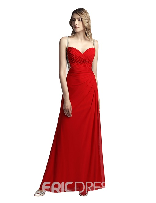 Ericdress Beading Sheath Spaghetti Straps Prom Dress 2019