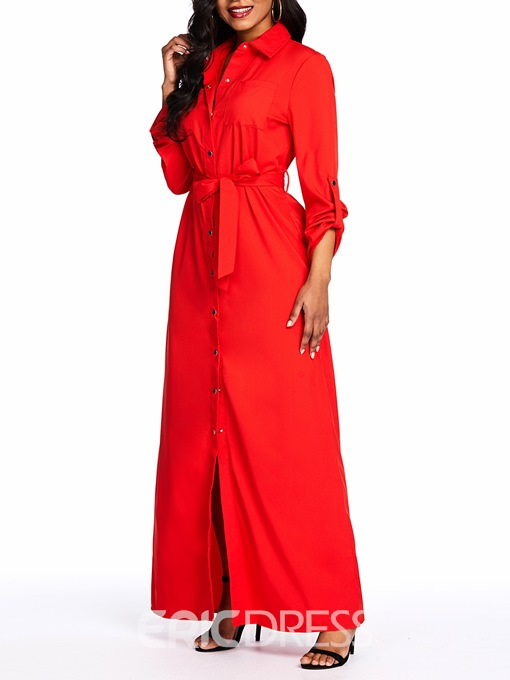 Ericdress Ankle-Length Three-Quarter Sleeve Lapel A-Line Single-Breasted Dress