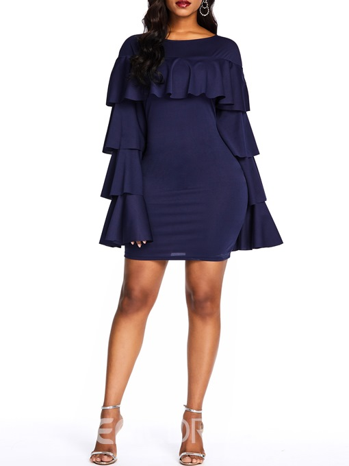 Ericdress Falbala Above Knee Long Sleeve Bodycon Ruffle Sleeve Dress