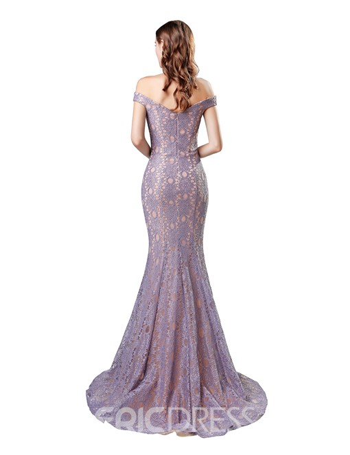 Ericdress Off The Shoulder Lace Mermaid Evening Dress 2019