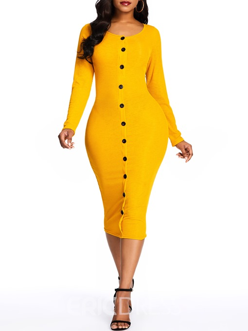 Ericdress Long Sleeve Round Neck Button Plain Bodycon Dress