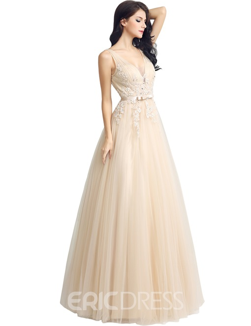 Ericdress A-Line Floor-Length V-Neck Prom Dress