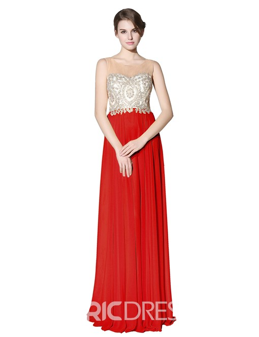 Ericdress A-Line Floor-Length Scoop Prom Dress 2019