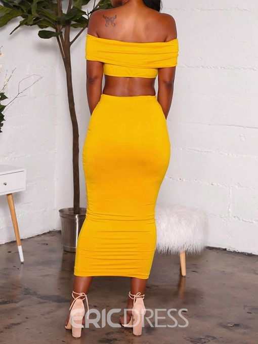 Ericdress Off Shoulder Plain Bodycon Skinny T-Shirt And Skirt Two Piece Sets