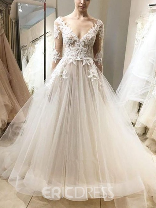 Ericdress Long Sleeves V-Neck Appliques Outdoor Wedding Dress