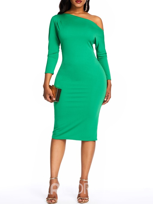 Ericdress Plain Oblique Collar Three-Quarter Sleeve Knee-Length Pullover Dress