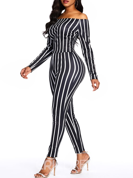 Ericdress Striped Skinny Off Shoulder T-Shirt And Pants Two Piece Sets