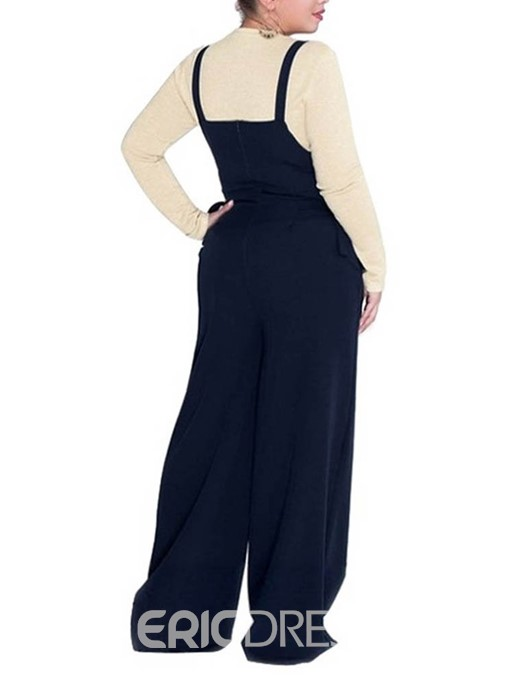 Ericdress Plus Size Strap Travel Look Mid Waist Loose Jumpsuit