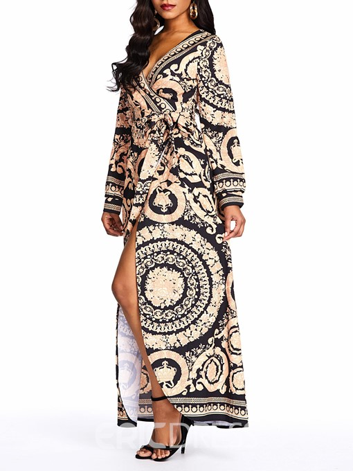 Ericdress Long Sleeve Ankle-Length Print Color Block Pullover Dress