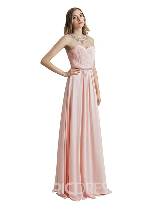 Ericdress Floor-Length Scoop Pick-Ups Prom Dress