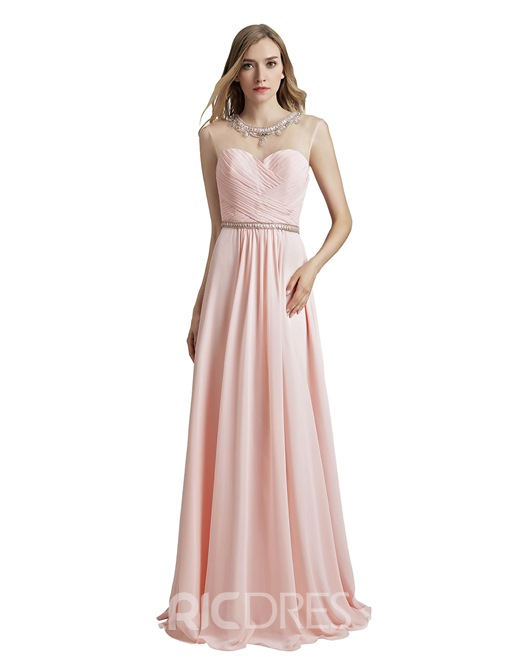 Ericdress Floor-Length Scoop Pick-Ups Prom Dress 2019