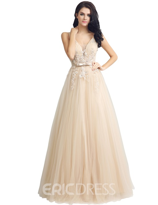 Ericdress A-Line Floor-Length V-Neck Prom Dress 2019