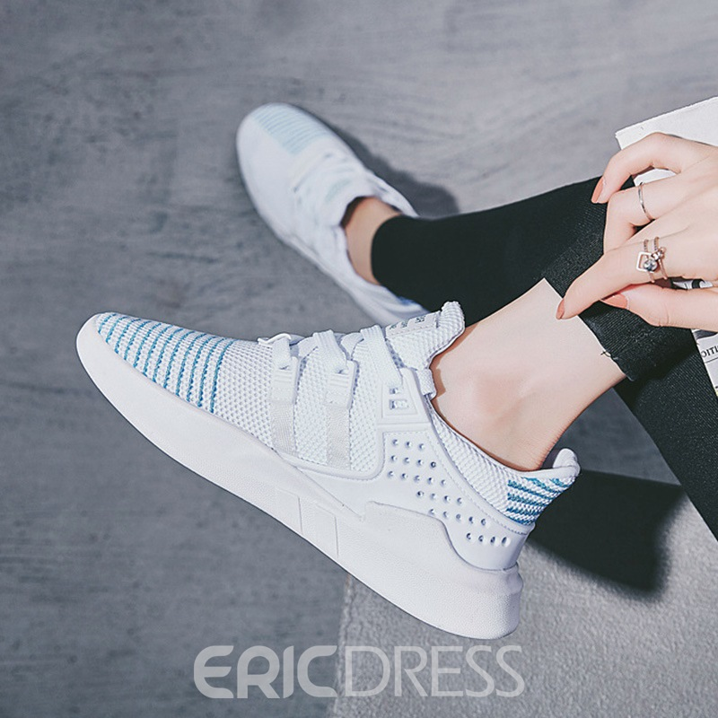 Ericdress Mesh Color Block Lace-Up Round Toe Sneakers For Women
