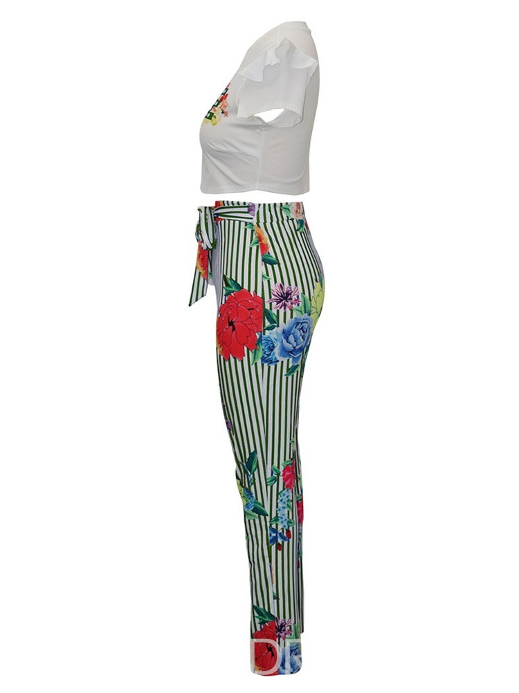 Ericdress Letter Stripe Floral Stringy Selvedge T-Shirt And Pants Two Piece Sets