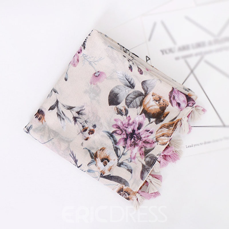Ericdress Shivering Print Floral Scarf