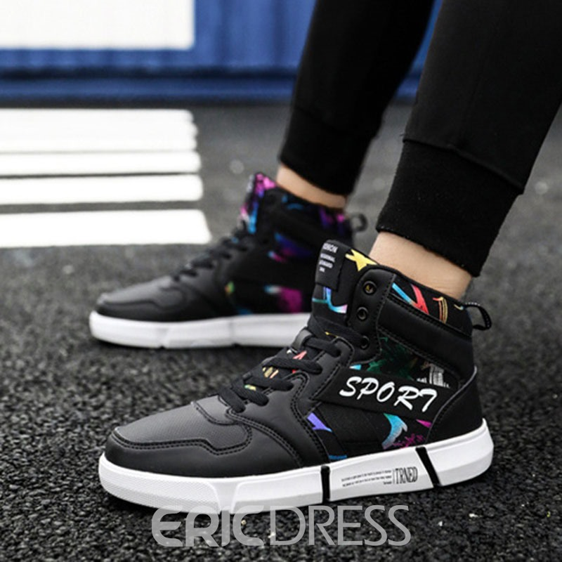 Ericdress PU Letter Round Toe Men's Skate Shoes