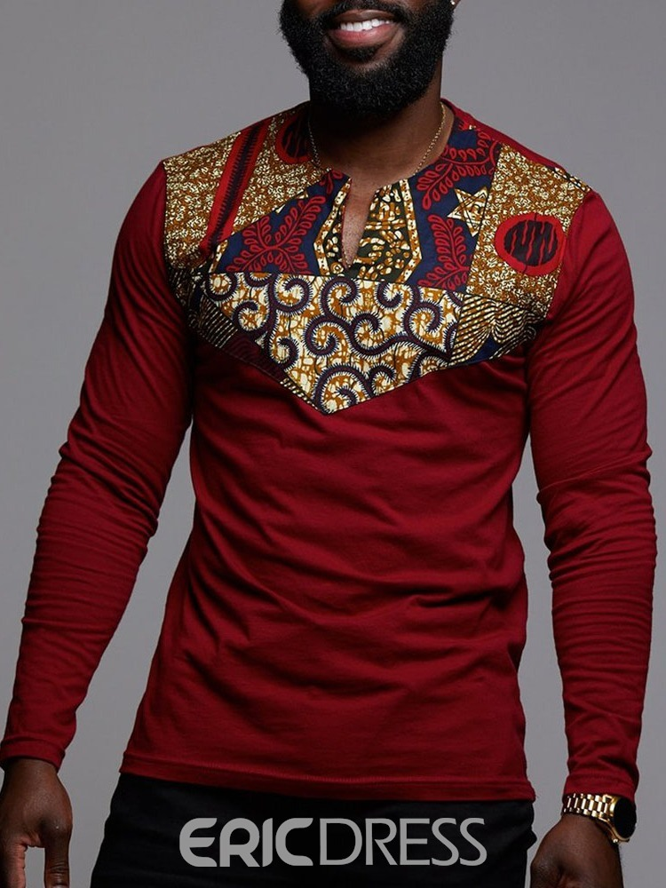 Ericdress African Fashion Floral Dashiki Printed Mens Straight T-shirt