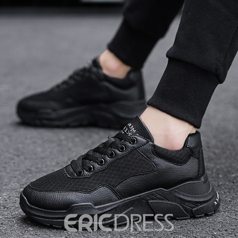 Ericdress Mesh Patchwork Lace-Up Round Toe Sneakers For Men