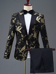 Ericdress Floral Embroidery One Button Mens Party Dress Suit фото