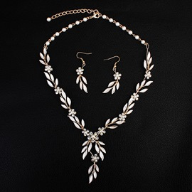 Leaf Shape European Earrings Jewelry Sets (Wedding)