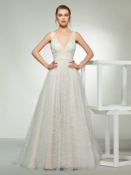 Ericdress V-Neck A-Line Beading Lace Wedding Dress 2019