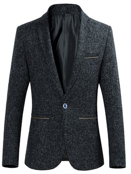 Ericdress Plain One Button Notched Lapel Slim Mens Blazer