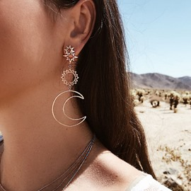 Ericdress Alloy Moon&Star Earrings