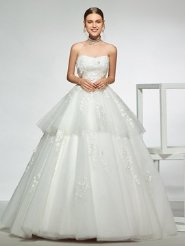 Ericdress Ball Gown Strapless Tiered Appliques Wedding Dress 2019