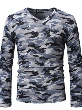 Ericdress Camouflage V-Neck Mens Long Sleeve Slim T-shirt