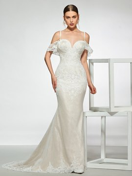Ericdress Spaghetti Straps Lace Backless Mermaid Wedding Dress