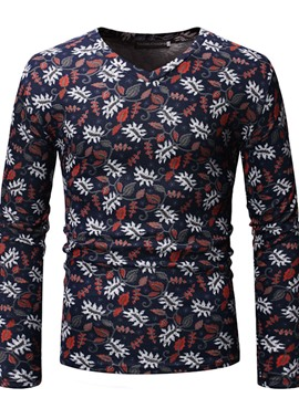 Ericdress Floral Printed V-Neck Mens Long Sleeve Casual T-shirt