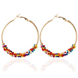Ericdress Hoop Bohemian Beads Earrings