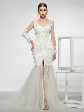 Ericdress Long Sleeves V-Neck Lace Mermaid Wedding Dress