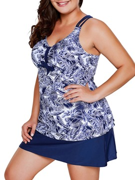 Ericdress Floral Tankini Set Plus Size Swimwear