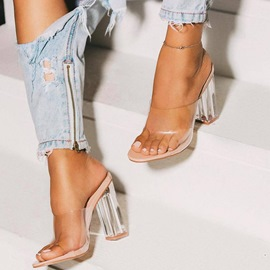 Ericdress PVC Chunky Heel Slip-On Women's Sandals