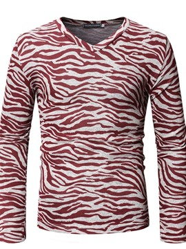 Ericdress Zebra Striped V-Neck Slim Mens Long Sleeve T-shirt