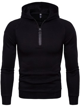 Ericdress Plain Hooded Quarter Zip Mens Casual Pullover Hoodies