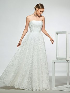Ericdress Strapless Floor-Length Lace Beach Wedding Dress 2019
