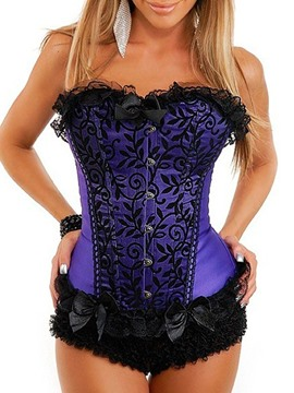 Ericdress Sleeveless Color Block Lace Overbust Waist Cincher Corsets