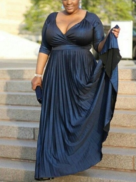 Ericdress Half Sleeves V-Neck Plus Size Mother of the Bride Dress 2019