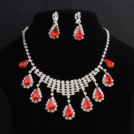 Gemmed Heart-Shaped European Jewelry Sets (Wedding)