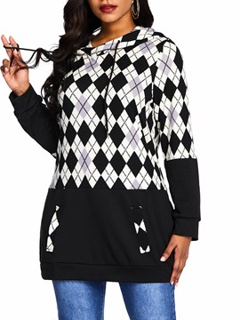 ericdress patchwork plaid sudadera con capucha media caida regular
