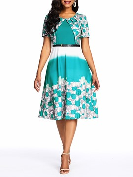 Ericdress Floral Belt Gradient Standard-Waist Print OL Dress