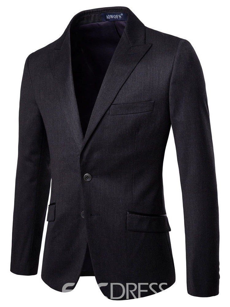 Ericdress Plain Single-Breasted Blazer Mens 2 Pieces Dress Suit